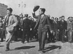 Emperor Showa (Hirohito) visiting Ogaki, Gifu, Japan, 25 Oct 1946