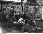Adolf Hitler (seated, first from right) with other men of the Bavarian Reserve Infantry Regiment 16, 1914-1918