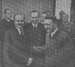Vyacheslav Molotov and Adolf Hitler at the Reich Chancellery in Berlin, Germany, 18 Nov 1940; note Wilhelm Keitel in background