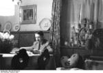 Reich Chancellor Adolf Hitler reading paperwork at a house in Obersalzberg, Bavaria, Germany, 1936