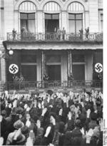 Adolf Hitler and Joseph Goebbels at the balcony of the Propaganda Ministry building, 1936