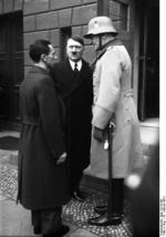 Joseph Goebbels, Adolf Hitler, and Werner von Blomberg on Remembrance Day in Berlin, Germany, 25 Feb 1934