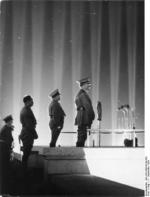 Adolf Hitler, Robert Ley, and Rudolf He? at a Nazi rally at N?rnberg, Germany, 11 Sep 1936