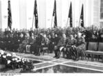 Hermann Göring, Adolf Hitler, and Werner von Blomberg at the funeral of Luftwaffe Lieutenant General Walther Wever, courtyard of Reich Aviation Ministry, Berlin, Germany, Jun 1936