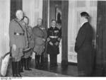 Colonel General Blomberg, General Göring, General Fritsch, and Admiral Raeder offering Hitler New Year