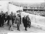 Reich Chancellor Adolf Hitler leading officials of the International Olympic Committee into the Berlin Olympic Stadium, Germany, 21 Jun 1936, photo 1 of 2