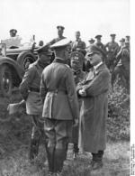 Blomberg, Fritsch, and Hitler at a military maneuver at Celle, Germany, 7 Sep 1935