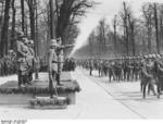 Hitler reviewing a military parade held in celebration of his 47th birthday, 20 Apr 1936; Blomberg, G?ring, Raeder, and Rundstedt behind him