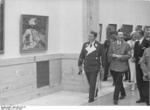 Göring and Hitler touring the House of German Art museum, Munich, Germany, 18 Jul 1937; Professor Ziegler seen speaking with Hitler