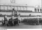 Adolf Hitler reviewing a Reich Labor Service (RAD) parade, Zeppelin Field, Nürnberg, Germany, Sep 1937