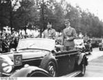 Mussolini and Hitler in an open-top Mercedes-Benz limousine, Berlin, Germany, late Sep 1937