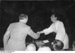 Adolf Hitler shaking hands with German actress and director Leni Riefenstahl, Germany, 20 Apr 1938