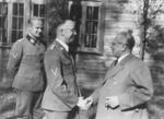 Heinrich Himmler shaking hands with Heinrich Hoffmann, Rastenburg, Germany, 1941