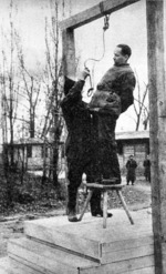 Rudolf Höss being prepared for hanging, Auschwitz Concentration Camp, Poland, 16 Apr 1947, photo 1 of 2