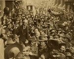 Australian soldiers carrying Billy Hughes along George Street, Sydney, Australia after his return from the Paris Peace Conference, 1919