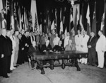 Francisco Castillo Najera, Franklin Roosevelt, Manuel Quezon, Cordell Hull, and other Allied leaders at the White House, Washington DC, United States, Jul 1942