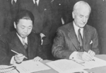 Chinese Ambassador Wei Daoming and US Secretary of State Cordell Hull signing the Treaty for Relinquishment of Extraterritorial Rights in China, Washington DC, United States, 11 Jan 1943
