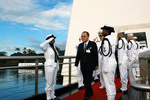 US Senator Daniel Inouye at the USS Arizona Memorial, Honolulu, Hawaii, United States, 7 Dec 2003