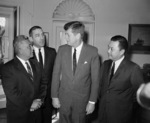 US President John Kennedy, Senator Daniel Inouye, and others, White House, Washington DC, United States, 1963