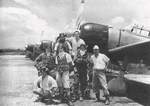 Pilots of Japanese Navy 202nd Air Group, Kupang, Timor, Dutch East Indies, Feb 1943; note Yoshiro Hashiguchi (left most pilot), Kiyoshi Ito (right most pilot), and Zero fighters
