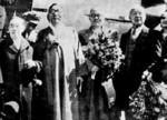 Kim Gu, Ji Cheong-cheon, Kim Yu-sik, Rhee Syngman, and Fraziska Donner at Gimpo Airport, Korea, 22 Apr 1947