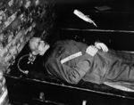The body of Alfred Jodl after being hanged, Nuremberg, Germany, 16 Oct 1946