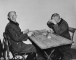 Alfred Jodl and Wilhelm Keitel at a makeshift dining room during the Nuremberg Trials, Germany, 1945-1946