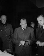 General Alfred Jodl, Hans Frank, and Alfred Rosenberg at the Nuremberg Trials, Germany, 1946