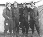Nakajima (first from left), Kashimura (third from left), and two other pilots in China, circa 1938