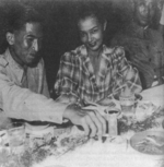Colonel Kharb Kunjara, Katiou Meynier, and General Dai Li at a banquet in Chongqing, China, date unknown