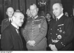Hans Lammers, Wilhelm Keitel, and Georg von Stahmer in conversation with Yosuke Matsuoka at the Japanese Embassy in Berlin, Germany, 28 Mar 1941