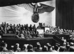 Adolf Hitler declaring war on the United States at the German Reichstag, Kroll Opera House, Berlin, Germany, 11 Dec 1941, photo 1 of 2