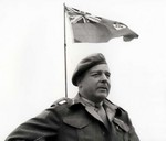 Canadian Major General Rod Keller addressing troops in Normandy, France, 2 Aug 1944