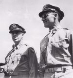 Major General George C. Kenney, commander of US 5th Air Force, and Brigadier General Kenneth N. Walker, commander of US V Bombing Command at Port Moresby, New Guinea, 1942