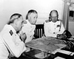 Admiral Husband Kimmel with his chief of staff Captain William and his operations officer Captain Walter Delany at Pearl Harbor, US Territory of Hawaii, 1941
