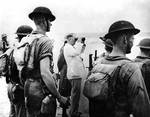 Knox observing maneuvers at New River Inlet, North Carolina, flanked by Marines, 17 Jul 1941