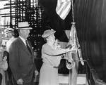 US Secretary of Navy Frank Knox and wife Annie Reid Knox at the christening ceremony of USS Hornet, Newport News shipyard, Newport News, Virginia, United States, 30 Aug 1943