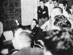 Fumimaro Konoe at a press conference at the Peerage Club House in Tokyo, Japan upon being asked to form a new government, 17 Jul 1940