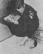 American coroner performing a post-mortem examination for Fumimaro Konoe, Japan, 17 Dec 1945