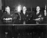 Marshall, Leahy, and King announcing victory over Europe, Washington DC, 8 May 1945