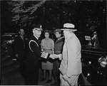 William Leahy greeting Winston Churchill at Harry Truman