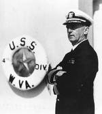 Leahy aboard USS West Virginia, Long Beach, California, United States, Sep 1935