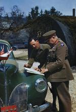 General Henry Wilson and Lieutenant General Oliver Leese, Mignano Monte Lungo, Italy, 30 Apr 1944, photo 3 of 4