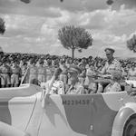 King George VI inspecting troops at Perugia, central Italy with Oliver Leese and Richard McCreery, 25 Jul 1944