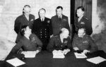 Bradley, Ramsay, Tedder, Eisenhower, Montgomery, Leigh-Mallory, and Smith at a SHAEF conference in London, England, United Kingdom, 1 Feb 1944, photo 6 of 7