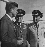 President John Kennedy with SAC Chief General Curtis LeMay and SAC Vice-Chief Lieutenant General Thomas Power at Strategic Air Command HQ, Offutt Air Force Base, Omaha, Nebraska, United States, 1962