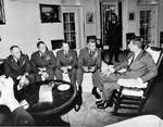 US Air Force Chief-of-Staff General Curtis LeMay meeting with President John F. Kennedy along with the U-2 pilots who photographed Soviet missiles on Cuba, sparking the Cuban Missile Crisis, 1962
