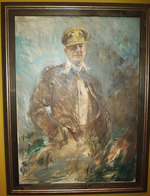 Oil on canvas portrait of MacArthur, on display at the National Portrait Gallery, Washington, DC, United States; portrait circa 1952, photograph taken 7 Jul 2007