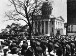 American military servicemen gathering outside of the MacArthur Memorial for last rites, Norfolk, Virginia, United States, 9 Apr 1964