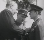 Douglas MacArthur receiving a French decoration, 1930s